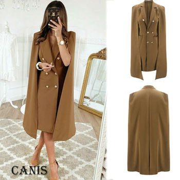 2020 Autumn Winter Women Long Sleeve Waterfall Cardigan Trench Female Solid Double Breasted Long Coat Duster Jackets Trench S-XL