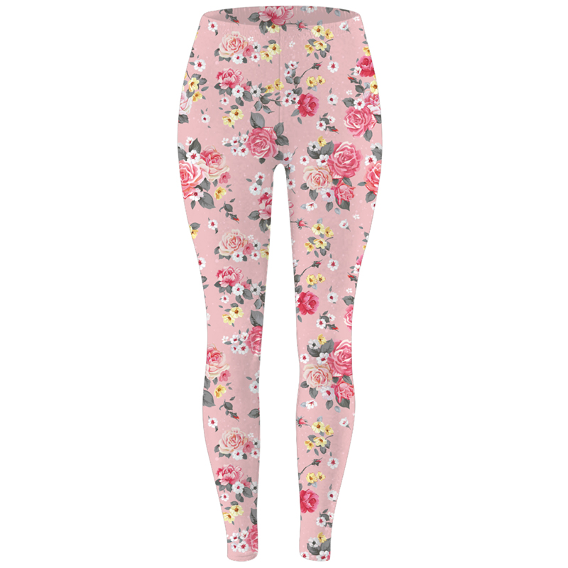 FroMoaSa Women Clothes 2020 Datura Flower High Waist Pants New Rose Flower Printed Leggings Fashion Sexy Women Leggings
