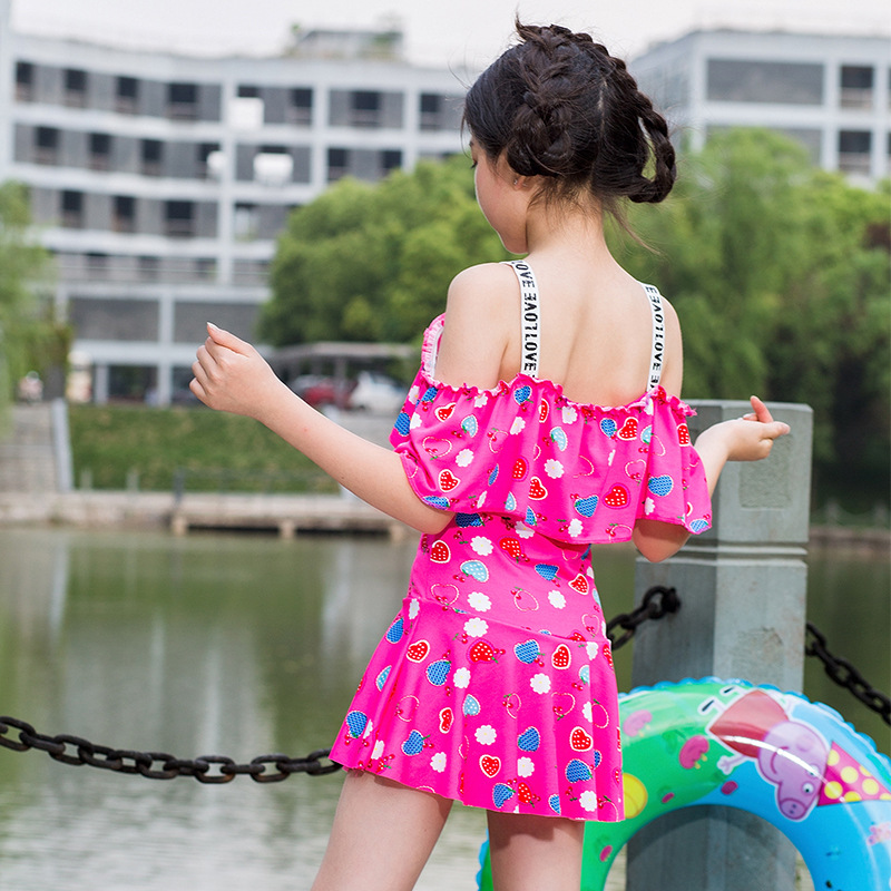 New Style KID'S Swimwear Korean-style Heart GIRL'S One-piece Swimming Suit Cute Big Kid Princess Dress Tour Bathing Suit Student