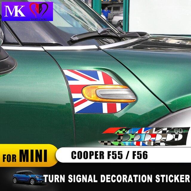 Union Jack guardabarros de señal de giro para coche, pegatina decorativa 3D para Mini Cooper Clubman F55 F56 F57 F54, accesorios para Clubman, 60 años