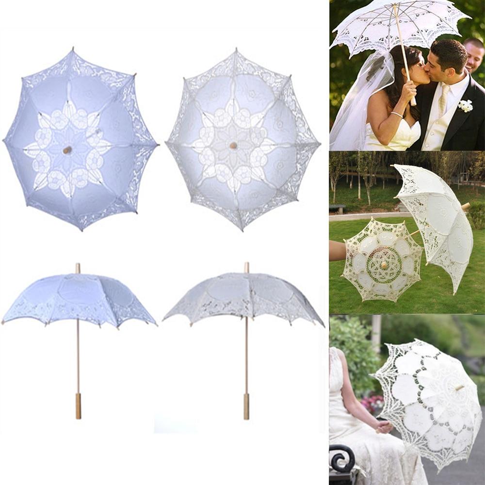 Western Style Elegant Lace Umbrella Cotton Embroidery Bridal Umbrella White Ivory Vintage Wedding Gifts Umbrella Parasol D30