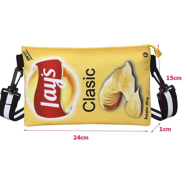 Funny Potato Chips Crossbody Handbag Women Canvas Shoulder Bag Mini Cartoon Printing Girl Envelope Bags Female Clutch Cute Purse 4
