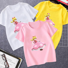T-Shirt For Girls 2021 New Princess Cartoon Image Cotton Printed Tshort Sleeves Leisure Sports Children's Clothes 4 to 14 Years