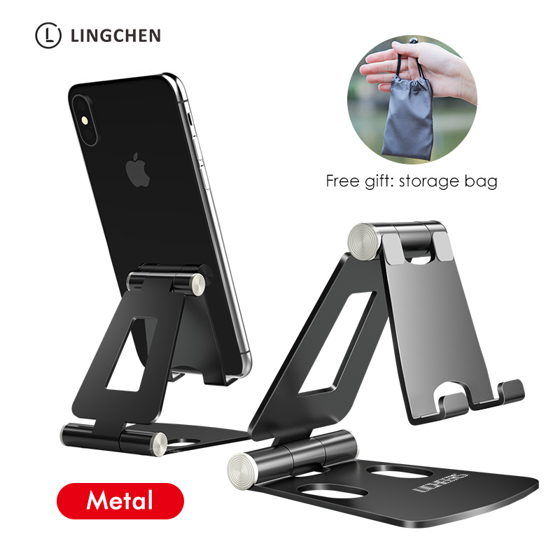LINGCHEN Phone Holder Stand for iPhone 11 Xiaomi mi 9 Metal Phone Holder Foldable Mobile Phone Stand Desk For iPhone 7 8 X XS title=