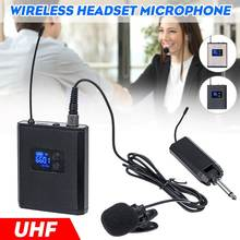 Dual Channel UHF Wireless Headset Lavalier Lapel Microphone System with Bodypack Transmitter Mini Lapel Mic & Portable Receiver(China)