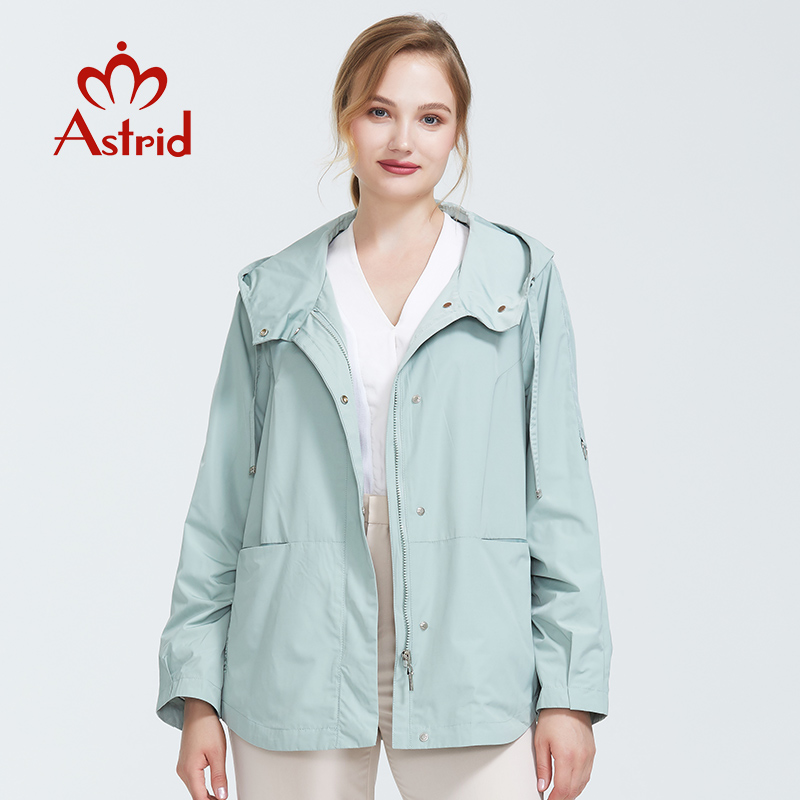 2019 Trench Coat Spring Autumn Coat Women Hooded Solid Color Short Coat Trench Big Coat For Women High Quality New Style AS-9045