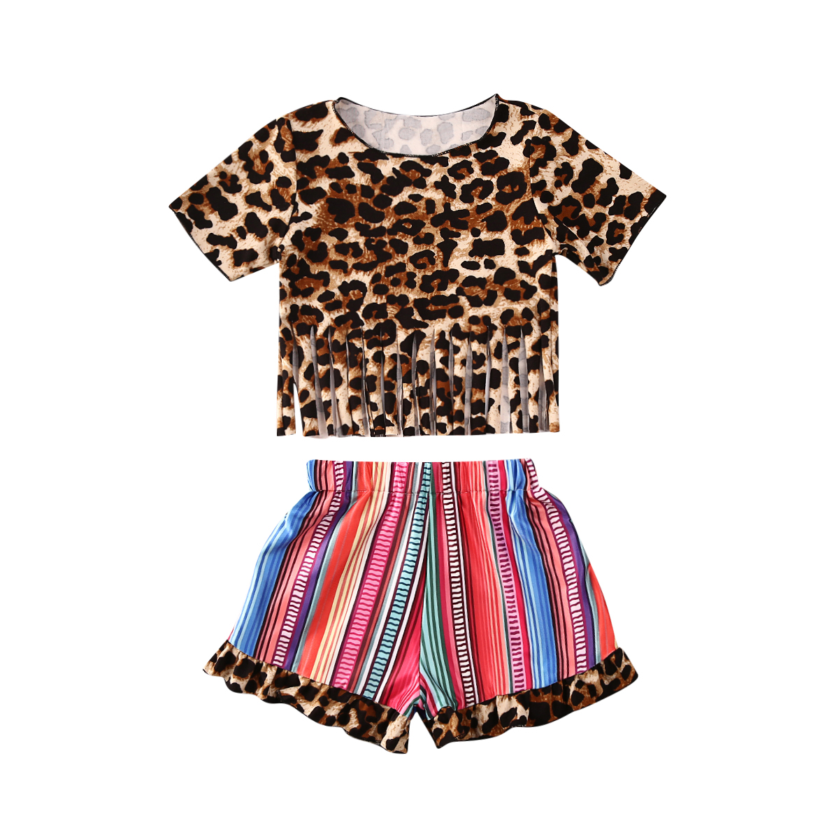 2020 Summer Toddler Kids Girls Clothes Sets Leopard Print Short Sleeve T Shirts Tops Striped Tassel Shorts
