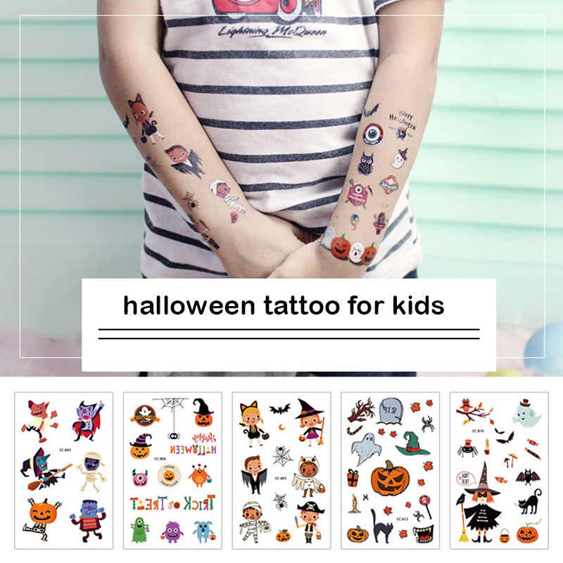 Kids tattoo sticker grappig ghost kat vleermuis pompoen patroon water transfer decals voor boday arm make halloween tattoo sticker RA039