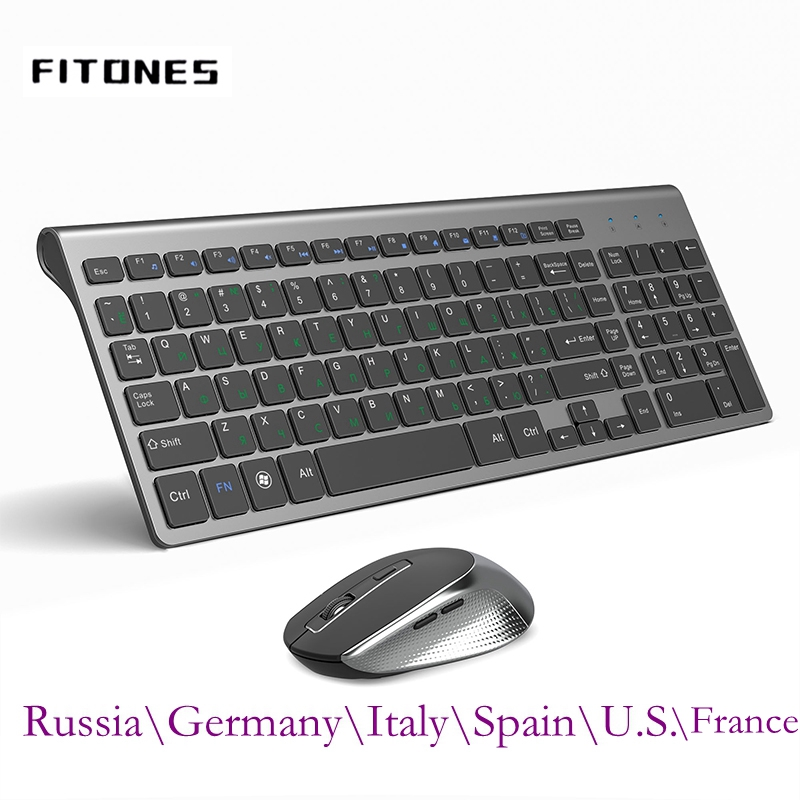 Russia/spagna/USA/francia/italia/germania Layout 2.4 GHz Mouse tastiera Wireless portatile Ultra sottile, Mouse Full Size 2400 DPI, nero