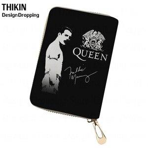 THIKIN Freddie Mercury, Tarjetero con impresión para teléfono de mujer, tarjetero de banda Queen, tarjetero de piel para hombre, funda para pasaporte de viaje