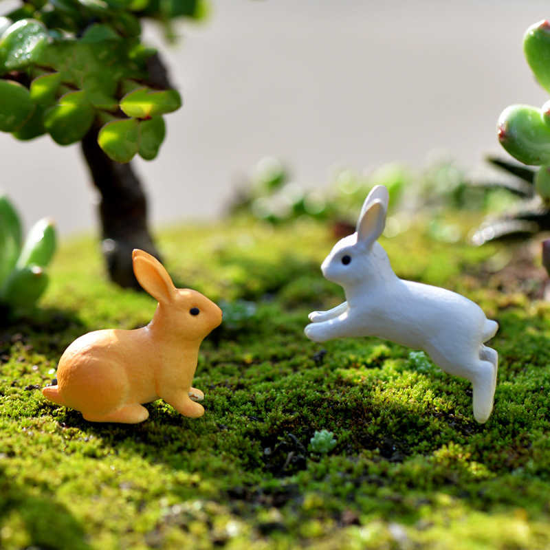 DIYกระต่ายจำลองสัตว์Miniature Figurinesตกแต่งคริสต์มาสสำหรับบ้านFairy Garden Miniaturesรถมินิตกแต่ง