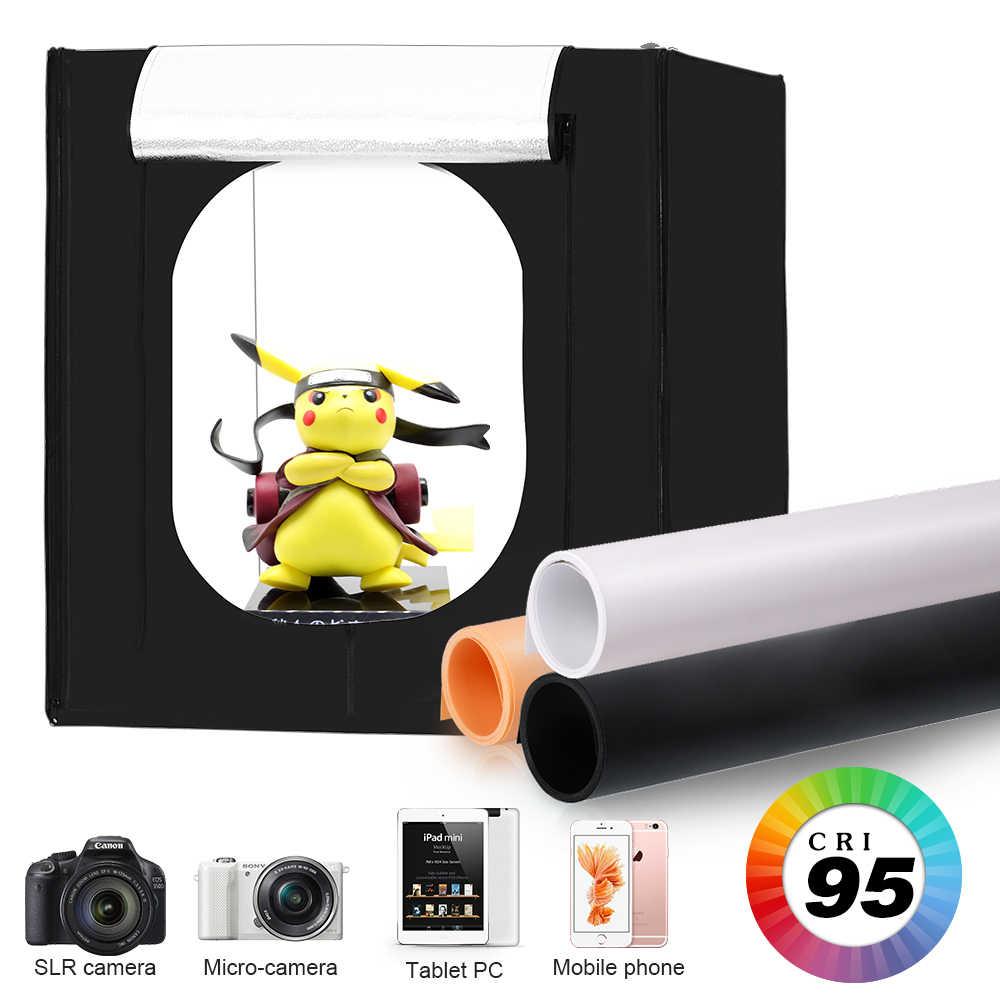 Fotografia Photo Studio Scatole Morbidi, 80X80 Cm Pieghevole Portatile Photography Luce Kit Tenda con 3Pcs Sfondo Bordo