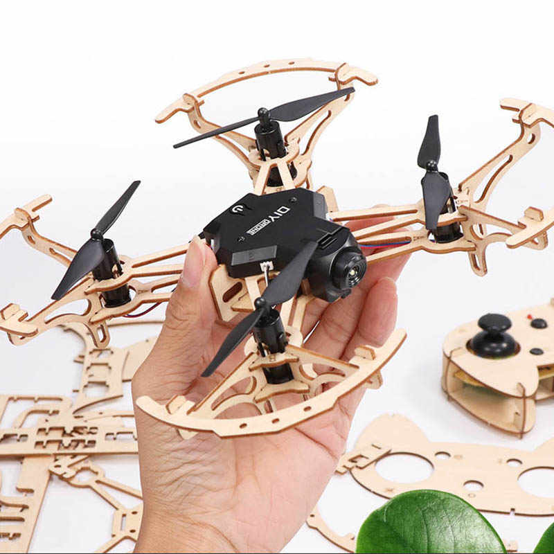 assembly DIY wooden drone with camera HD remote control quadcopter RC Toys Kid WIFI FPV RC Quadcopter Professional