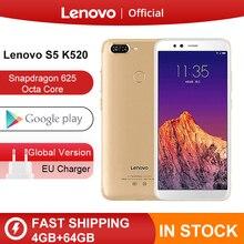 Küresel ROM Lenovo S5 K520 4 GB RAM 64 GB Smartphone Snapdragon 625 Octa çekirdekli Çift Arka 13MP Ön 16MP yüz KIMLIĞI 4 K Cep Telefonu