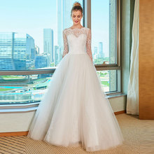 цена на Tanpell Elegant Wedding Dress Bateau Neck Long Sleeves Backless Lace Appliques Floor Length A Line Wedding Dress
