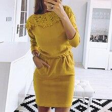 LOOZYKIT Autumn Winter Dress Women Long sleeve O-Neck Solid Lace Dress 2019 Slim Pencil Dress Office Work Ladies Dress