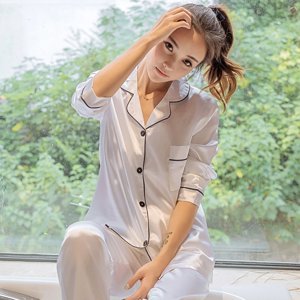 Imitation Silk Women Pajamas Set Soft Sleepwear  Spring Fashion Smooth Long Sleeve Homewear Homies Nightwear Sales