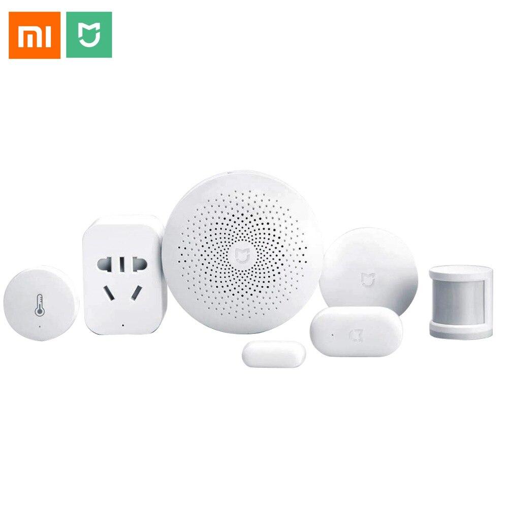 Xiaomi Smart Home Automation Mijia 6 em 1 Kit LED Gateway 2 WiFi Switch domotica Zigbee Sensor De Tomada interruptor domotique