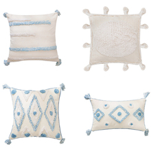Boho Style Handmade Cushion Cover Plush Blue Diamond with Cute Circle Moroccan Colorful Pillow Cover 45x45cm