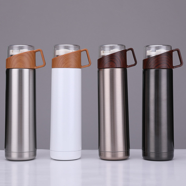 New 350ml/500ml Vacuum Flasks Protable Vacuum Water Bottle 304stainless steel Thermos Cup Wood Grain Jazz Drinking Cap 1