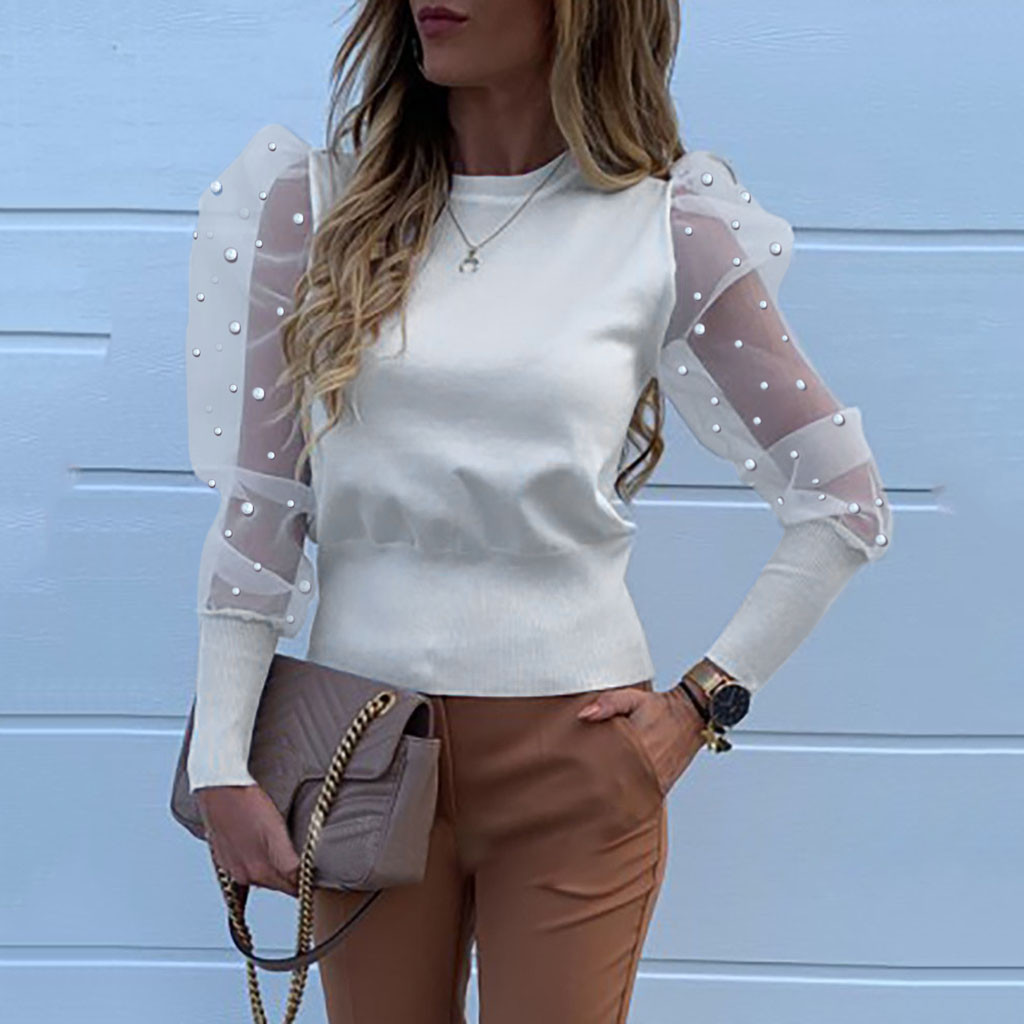 Women Blouse O-Neck Lantern Shirt Sleeve Perspective Dot Mesh Sleeve Casual Loose Blouse Woman 2020 2020 Fashion
