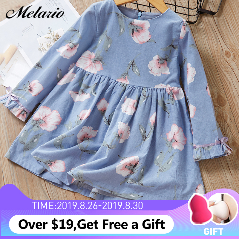 Melario Kids Dresses Clothing Princess-Dress Long-Sleeve Printing Floral Fashion Children's