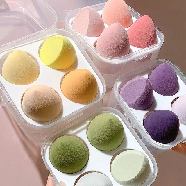 4 Pcs/set Cosmetic Puff Smooth Beauty Makeup Sponge Foundation Powder Cosmetics Blending Women Make Up Tools Accessories Sponges 2
