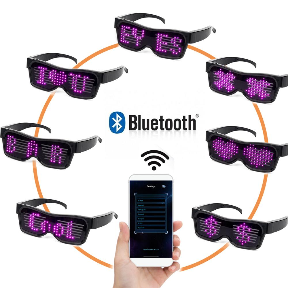 Pink Bluetooth APP Control LED Glasses For Flashing -Display Messages, Animation,  DJ Holiday Party Birthday Children's Toy Gift