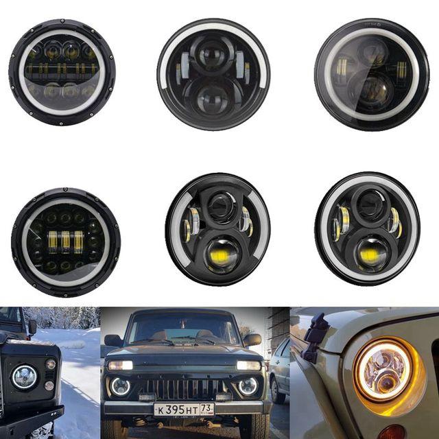 "2X 7Inch LED Headlamps with Halo Ring Amber Turn Signal For lada niva 4x4 suzuki samurai 7"" LED DRL Halo Headlights For VAZ 2101"