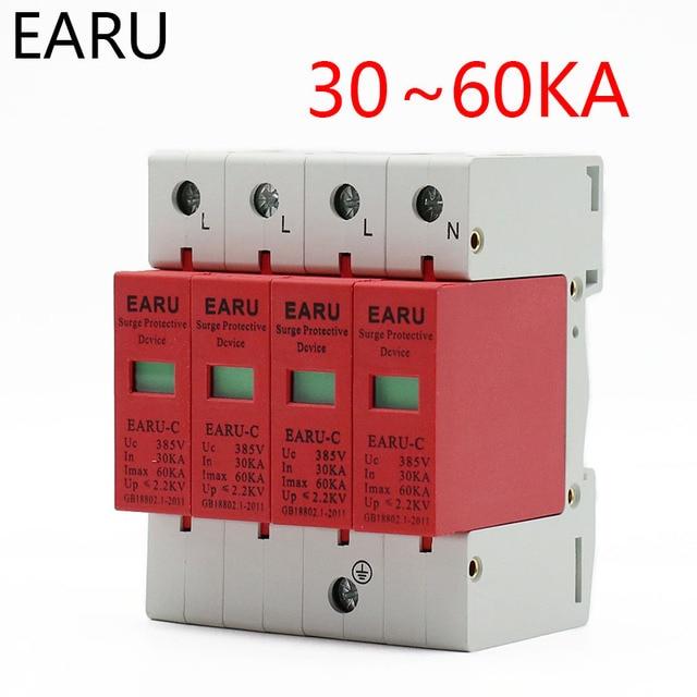 AC SPD 3P+N 4P 30KA~60KA AC385V House Lightning Surge Protector Protection Protective Low-voltage Arrester Device OEM Service