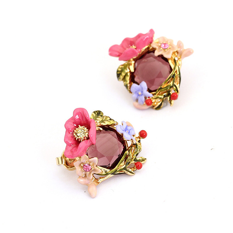 Winter garden series pink enamel peony flower crystal winding branches gold-plated earrings female silver needle