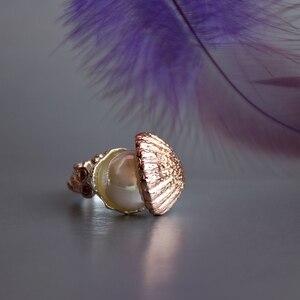 Image 5 - Nowa dostawa kobiety obrączka perła wewnątrz powłoki różowe złoto srebro kolor modna biżuteria z cyrkonią sześcienną musi mieć