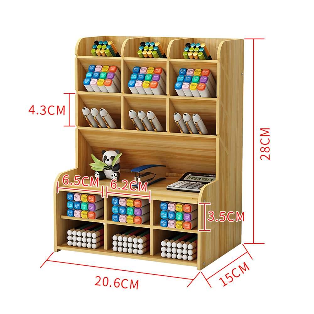 Multi-function Wooden Desktop Pen Holder Office School Stationery Storage Stand Case Desk Pen Pencil Organizer 5