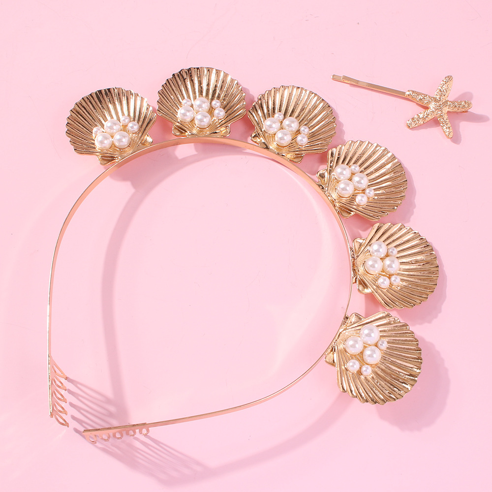 CN Metal Shell Pearl Crystal Baroque Hairbands For Women Hair Accessories Headband For Girls Crown Flower Headbands Head Wrap