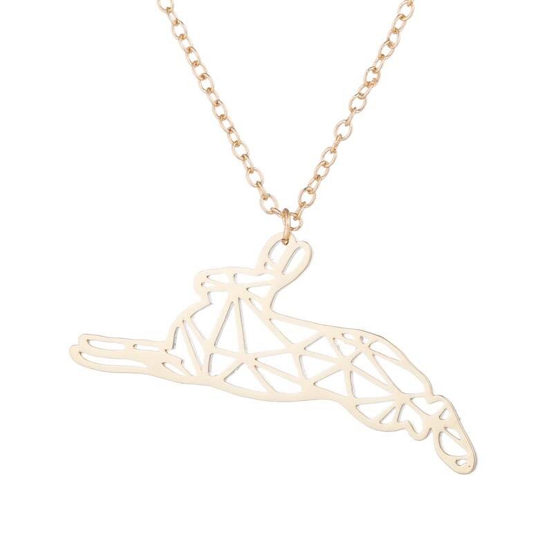 Cute Animal Bunny geometric Necklace bunny necklace origami necklace