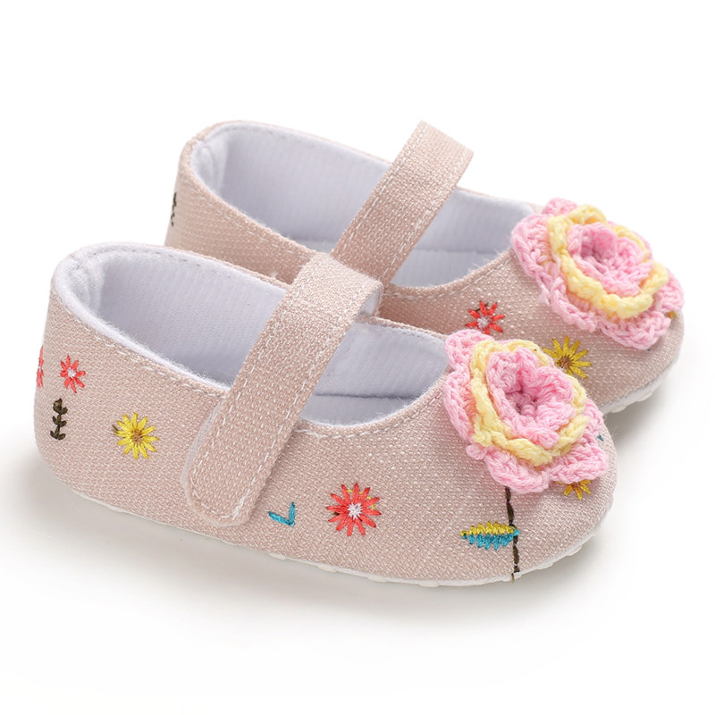 Baby Girls Shoes Canvas Toddler Baby Shoes Flowers  Printed Soft Bottom Footwear  0-18M Newborn First Walker