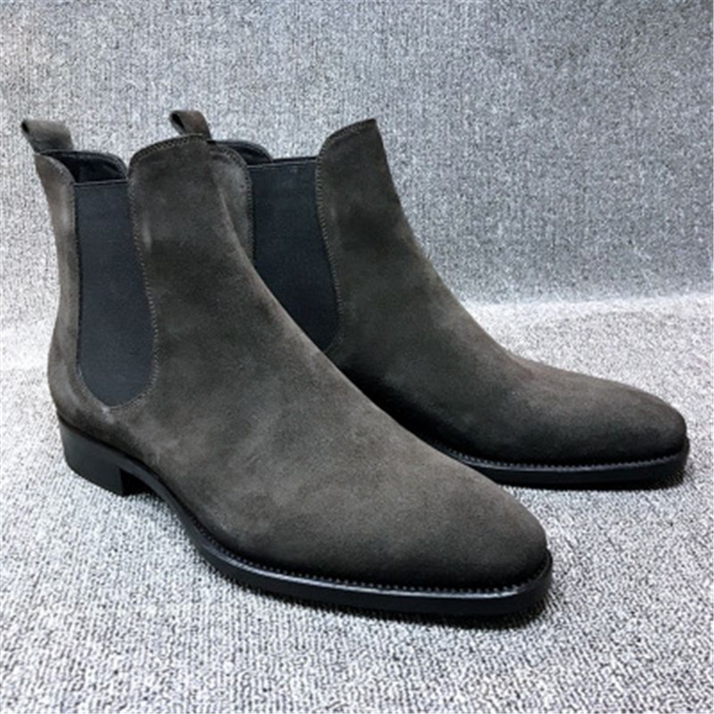Mens Faux Suede Chelsea Boots High-top Pointed Toe Ankle Boots Outdoor Walking Shoes Wear Resistant Casual Shoes Botas Mujer