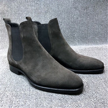 Mens Faux Suede Chelsea Boots High-top Pointed toe Ankle Boots Outdoor Walking