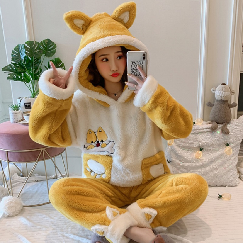 Women Pajama Sets Flannel Cartoon Warm Pyjamas Women Homewear Animal Sleepwear Pijama Mujer Nightwear Girls Home Clothes Suits