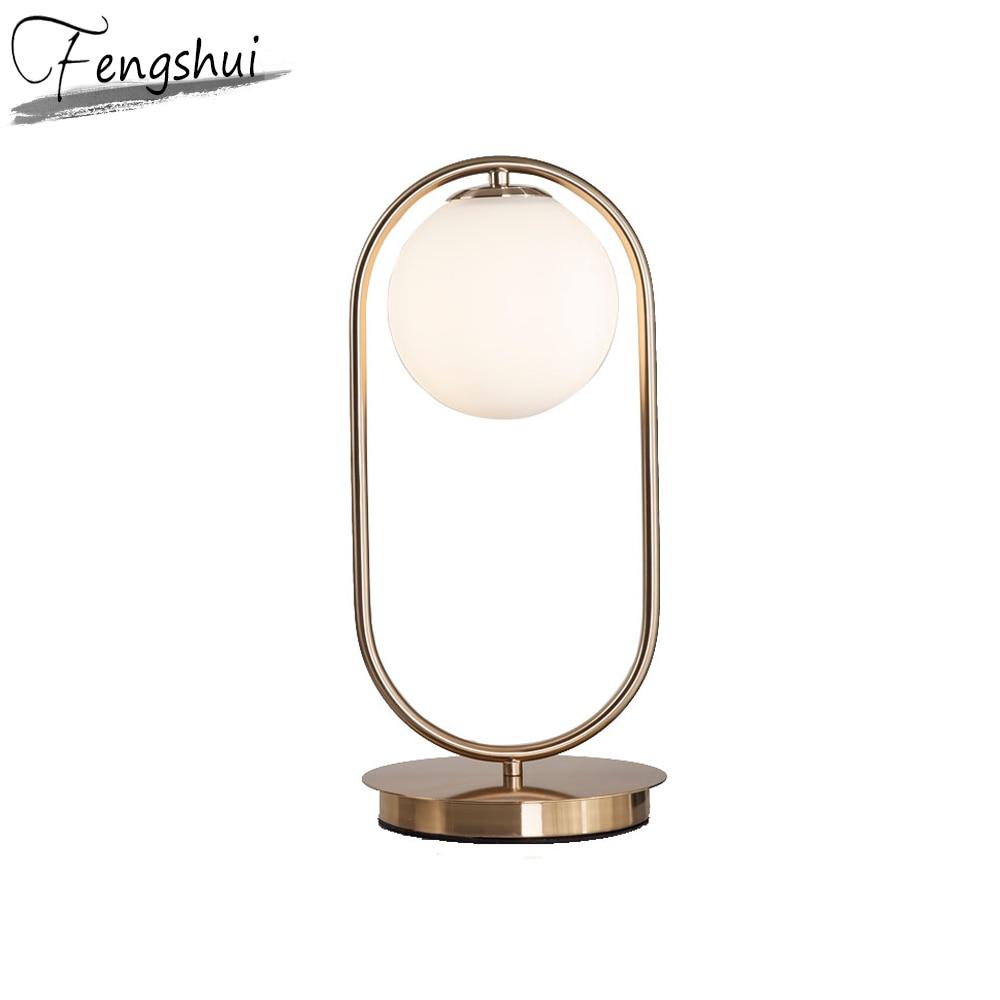 Nordic LED Metal Glass Table Lamp Home Decor Table Light Bedroom Bedside Study Hotel Living Room Hotel Reading Desk Lamp