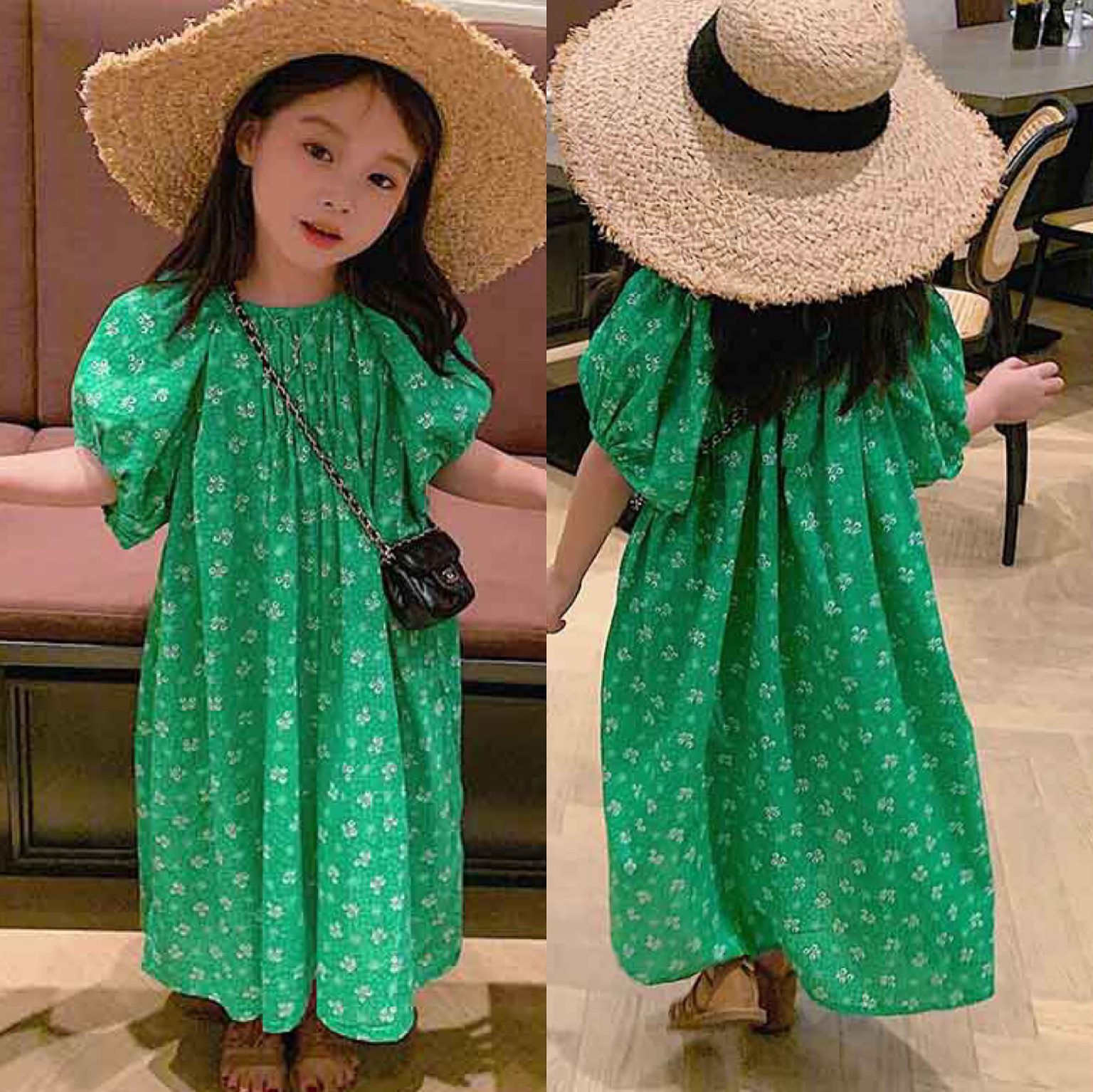 Green Floral Baby Spring Summer Girls Dress Kids Teenagers Children Clothes Outwear Special Occasion Short Sleeve High Quality