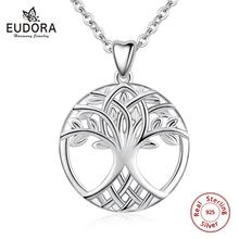 Eudora Tree of life necklace New 925 Sterling Silver Celtic knot tree pendant Women Jewelry finding Great Gift for friend CYD52 цена 2017