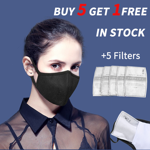 n95 Face mask Cotton PM2.5 Black mouth Mask anti dust mask Activated carbon filter Windproof Mouth-muffle bacteria proof Flu