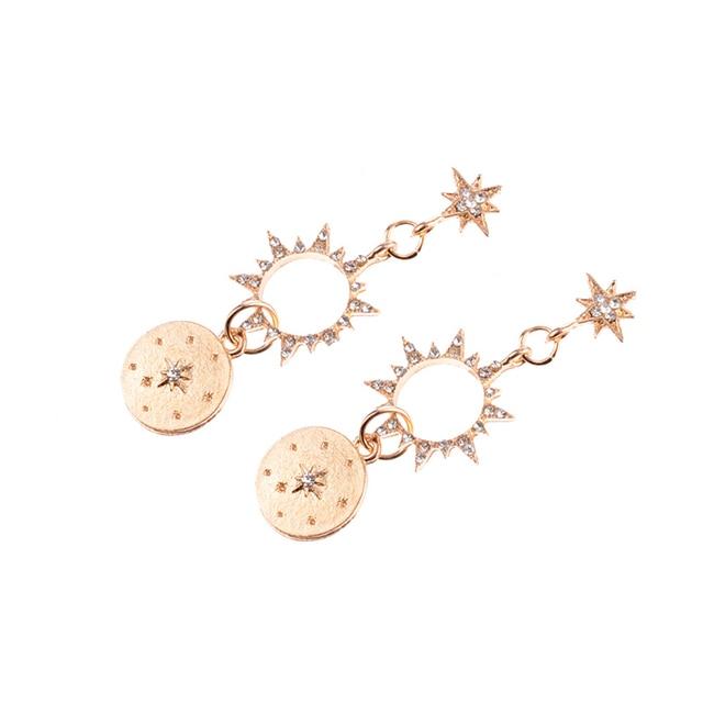 luokey богемные блестящие серьги кольца от солнца со стразами фотография