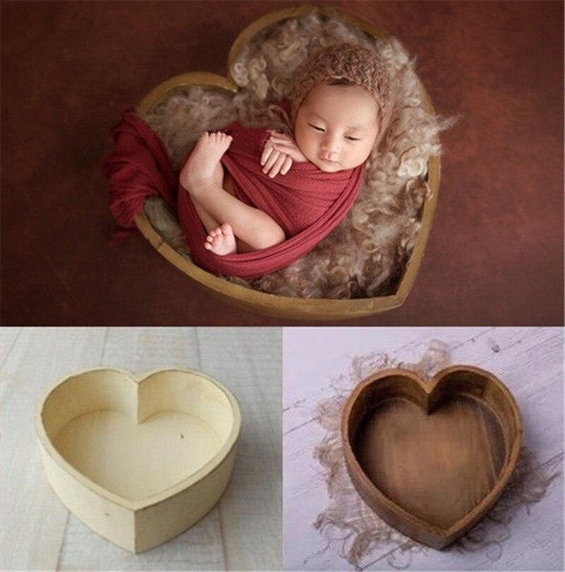 Adereços Para A Fotografia do bebê Heart-Shaped De Madeira Caixa de Acessórios Posando Sofá Estúdio Tiro Adereços Fotografia de Recém-nascidos 39x39x15 centímetros