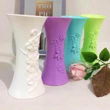 Ceramic Plastic Embossment Flower Potted Bottle Container Flower Desktop Ornement Vases Home Decor Bar Restaurant Decoration(China)