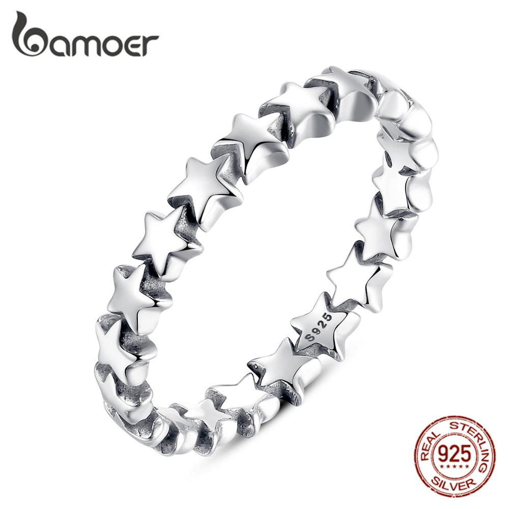 BAMOER Star Trail Stackable Finger Ring For Women Wedding 100% 925 Sterling Silver Jewelry