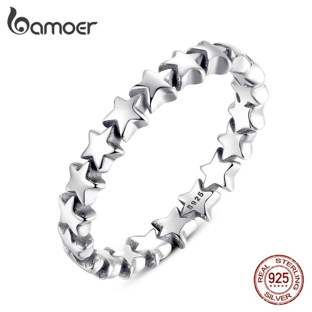 BAMOER HOT SALE Silver 925 Stackable Finger Ring For Women Wedding 100% 925 Sterling Silver Jewelry 2019 HOT SELL PA7151