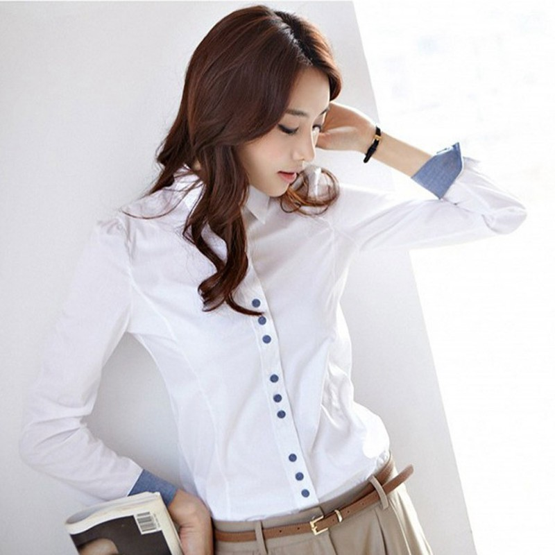 EFINNY Office Lady Blouse Women Career Long Sleeve Lapel Shirt Casual White Female Tops And Blouses