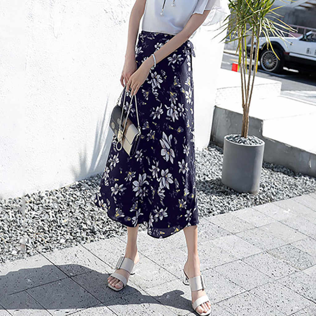 2020 nieuwe vrouwen rokken mid lengte bloemenprint plus size lange rokken vrouwen maxi rok boho lange rok plus size saia midi #3